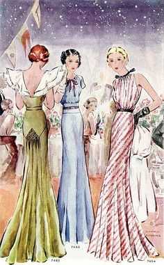 Gowns 1930s. Love the backside treatment.