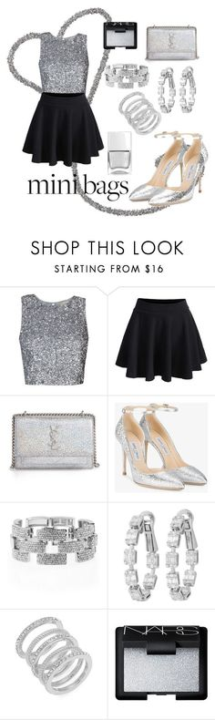 """""""Glitter mini bag"""" by cecilvenekamp ❤ liked on Polyvore featuring WithChic, Yves Saint Laurent, Jimmy Choo, Venus, Cole Haan, NARS Cosmetics and Nails Inc."""