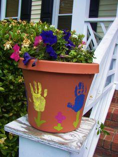 kids handprint flower pot   :)