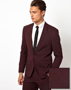 Image 1 ofASOS Skinny Fit Suit Jacket in Burgundy