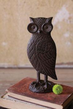 Rustic cast iron owl