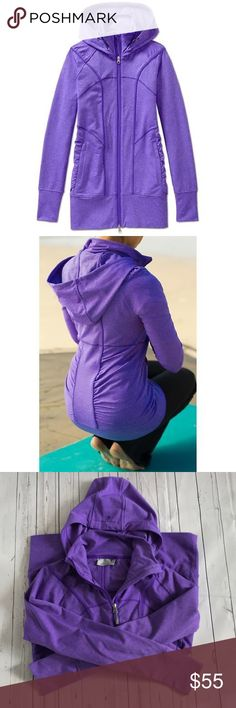 Athleta purple hooded workout jacket - size M Super cute purple Athleta 'rishi' hooded workout jacket - size medium.  No holes or stains, but there is one section on the back that has some pilling - see photo. Athleta Jackets & Coats