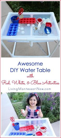 This DIY water table is inexpensive to make, sturdy, and versatile! It's perfect for patriotic activities (or practical life activities) that can be adapted for any country. Sensory Bins, Sensory Activities, Toddler Activities, Sensory Play, Learning Activities, Independence Day Theme, Baby Tech, Patriotic Crafts, July Crafts