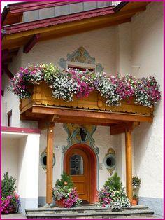 In Achensee, Austria Window Box Flowers, Balcony Flowers, Window Boxes, Flower Boxes, Flower Containers, Balcony Window, Balcony Garden, Grand Entrance, Hanging Baskets