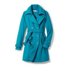 Wool-Blend Trench Coat ($39) ❤ liked on Polyvore featuring outerwear, coats, double breasted coat, fitted trench coat, blue long coat, fitted coat and new york & company
