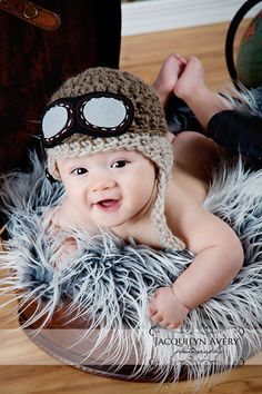 Aviator hat. @Shana Putnam do you think you could make one of these for Andrew? It is just too cute!