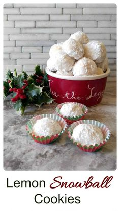 These lemon snowball cookies are snowball shaped bites of melt in your mouth sweet deliciousness. This snowball cookie recipe is perfect for a cookie swap. Easy Christmas Cookie Recipes, Christmas Cooking, Holiday Cookies, Christmas Desserts, Holiday Treats, Christmas Treats, Holiday Recipes, Holiday Foods, Christmas Diy