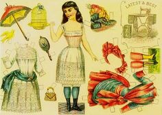 Paper Doll advertisement trading card of SINGER sewing machine (late 1800's).