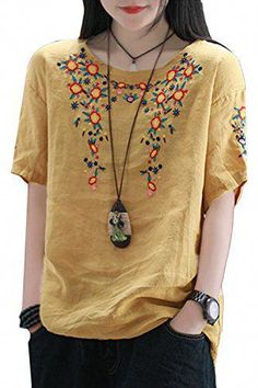 Shop a great selection of Women's T-Shirt, Cotton Short Sleeve Floral Embroidered Line Blouse Tops Tees. Find new offer and Similar products for Women's T-Shirt, Cotton Short Sleeve Floral Embroidered Line Blouse Tops Tees. Blouse Designs, Kurta Designs, Casual Outfits, Fashion Outfits, Fashion Fashion, Womens Fashion, Fashion Trends, Embroidered Clothes, Embroidered Blouse
