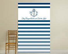 Personalized Photo Booth Backdrop - Nautical Bridal Shower Decor by Kate Aspen