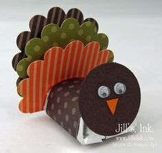 Turkey Nugget Favor - scrapbook paper, chocolate, & googly eyes; could also use as name cards
