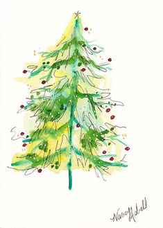 Green Watercolor Christmas Tree for a print on a card