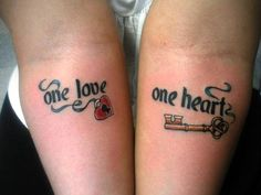 one love, one heart tattoo on arms