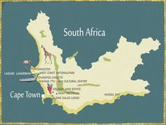 Map Western Cape Southafrica, Karte Westkap Südafrika Cape Town, West Coast, Touring, South Africa, Travel Inspiration, San, Holiday, South Africa Map, Round Trip