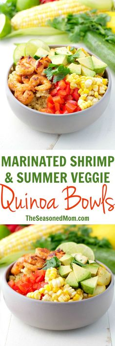These Marinated Shrimp and Summer Vegetable Quinoa Bowls will soon become your favorite easy and healthy dinner recipe -- and they're ready in less than 30 minutes! Full of zesty, chili lime flavor, the quinoa is piled high with sauteed shrimp, zucchini, squash, bell pepper, corn, and avocado for a simple and satisfying summer meal! #ad