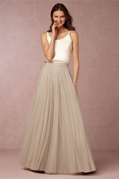 In Perpetuity Camisole and Amora Skirt from @BHLDN | neutral wedding | www.endorajewellery.etsy.com