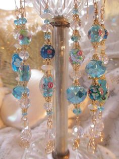 Blue Lampwork and Crystal Christmas Ornament by LaReineDesCharmes, $29.00