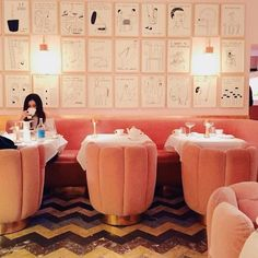 15 Gallery Walls So Glorious, You'll Want To Copy Them, Stat Sketch Gallery London, Like Instagram, Instagram Posts, French Cafe, Coffee Shop Design, Galleries In London, Book And Magazine, Pink Walls, London Travel