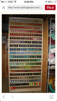 Sewing Thread Storage Cabinets Best Thread Rack Ever Thread Storage, Sewing Room Storage, Sewing Room Organization, My Sewing Room, Craft Room Storage, Sewing Rooms, Craft Rooms, Organization Ideas, Ribbon Storage