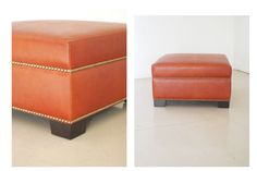 leather ottoman with nail head trim - Google Search