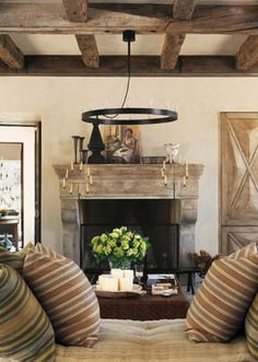 Rustic Elegance - Living Room love the beams on the ceiling this would be cute in the living room/nursery, and love the mantle.
