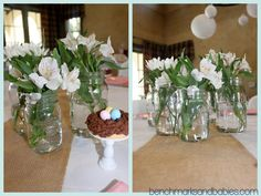 Maybe blue jars with baby's breath?