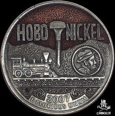 "Hobo Nickel/Utah quarter (C.) by Paolo "" MrThe "" Curcio. Note the micro lettering on the mini hobo nickel design within the quarter. Hobo Nickel, Coin Art, Metal Clay Jewelry, Antique Coins, Coin Collecting, Silver Coins, Mini, Carving, Notes"