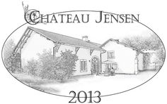 Château Jensen  Created an etched wine label style illustration for a friend's birthday — at St Genis Pouilly,.