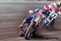 Bubba shobert y Scott Parker en la 1988 Lima Half-Mile. Honda vs Harley