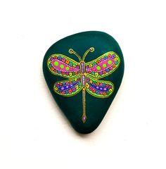 Hand Painted Stone Dragonfly