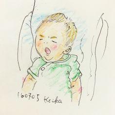 【Around midnight】赤ちゃんらしく少しずつムチムチしてきたものの、眉毛だけは無駄に凛々しいムスッコ。#yawn #baby #drawing #illustration #son #あくび#おえかき #イラスト #息子 #新米ママ