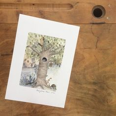 Voici ce que je viens d'ajouter dans ma boutique #etsy: Illustration pour enfant, arbre et hibou, décoration chambre enfant, bébé, tirage d'art à édition limitée Aquarelle