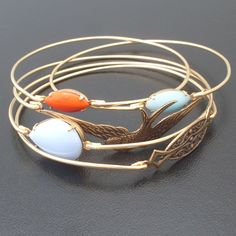 Free as a Bird Bangle Bracelet Set  Gold Blue Red by FrostedWillow, $64.00