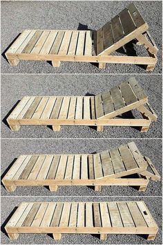Diese Holzpaletten-Sonnenliege ist ein einfaches aber das attraktivste Holzpalet… This wooden pallet sun lounger is a simple but the most attractive wooden pallet project. You can see this beautiful artwork on the corner d Diy Projects Outdoor Furniture, Outdoor Pallet Projects, Pallet Garden Furniture, Diy Furniture, Garden Pallet, Wood Projects, Furniture Stores, Pallet Ideas For Home, Pallet Landscaping Ideas
