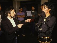 "Martin Scorsese directing Michael Jackson in ""Bad""."