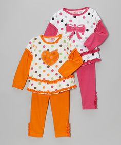 Take a look at this Orange Polka Dot Heart Layered Tunic Set on zulily today!