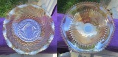 2 Vintage Mid-Century Opalescent Orange Serving Bowls Unknown Maker Carnival #Unknown