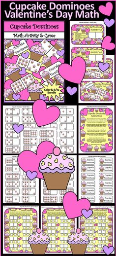 Cupcake Dominoes: This Valentine's Day math center activity serves not only as a fun math skills practice for your students but also as the classic game. Each tile is embellished with scrumptious cupcakes and Valentine's Day hearts to herald the coming of the holiday.   #Valentines #Day #Cupcake #Math #Game #Activities #Teacherspayteachers