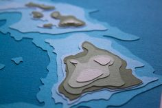 Hawaiian Islands with topography 8 x 10 layered papercut art by Marnie Karger / Crafterall http://www.etsy.com/shop/Crafterall #maps #paper_cutting #paper_art