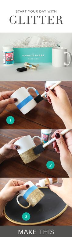 Make glitter dipped mugs for the holidays. These are great stocking stuffers, co-worker gifts or holiday decorations
