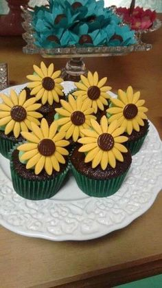 Sunflower cupcakes at a Frozen Fever birthday party! See more party planning ideas at CatchMyParty.com!