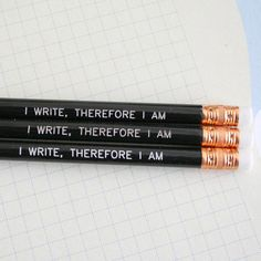 HOLD I write, therefore I am pencils in black, $4