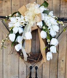 """22"""" White Tulip Farmhouse Wreath"""