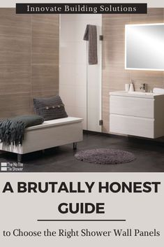Get a brutally honest guide to select the right shower wall panels for your next bathroom remodeling project. For more information call Innovate Building Solutions at for design, pricing and installation assistance. Rustic Bathroom Shelves, Bathroom Storage Shelves, Modern Bathroom Decor, Bathroom Trends, Small Bathroom, Bathroom Organization, Bathroom Ideas, Bathroom Furniture, Bathroom Renovations