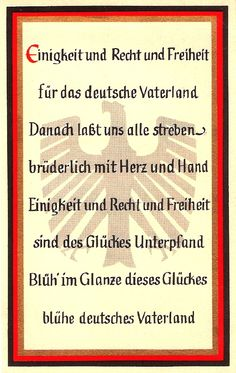 Die Nationalhymne DER DEUTSCHEN (Das Lied der Deutschen - die DRITTE Strophe). The verse that cost my Father his FREEDOM
