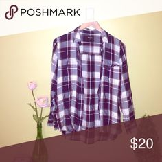 Madewell plaid button up Purple, navy, cream and yellow plaid button up blouse. Lightweight and fitted. Only worn once. Madewell Tops Button Down Shirts