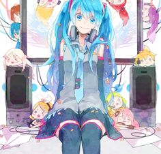 Hatsune Miku and the other Vocaloids Vocaloid, Kaito, All Anime, Anime Art, Anime Girls, Aoki Lapis, Chibi, Mikuo, Best Waifu