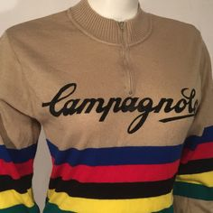 Vintage Campagnolo Long Sleeve Knit Cycling Bike Tan Jersey Shirt Large L  80s Eighties by CarolinaThriftChick on Etsy
