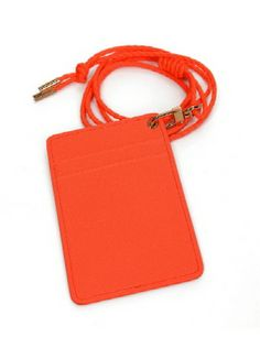 (OP275-ORANGE) Unisex Faux Leather Card Holder Wallet Necklace