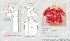 [转载](老绿手工)桃花朵朵开~姑娘的夹棉大衣(过程及裁剪参考) Girl Dress Patterns, Doll Clothes Patterns, Sewing Clothes, Clothing Patterns, Diy Clothes, Sewing Patterns For Kids, Sewing For Kids, Baby Sewing, Kids Coats Girls